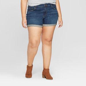 Plus Size Roll Cuff Jean Midi Jean Shorts